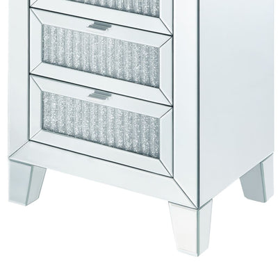 Contemporary Style Wooden Mirrored Night Table with 3 Drawers Silver - BM205596 By Casagear Home BM205596