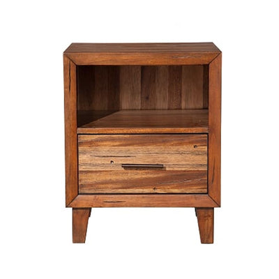 Transitional Style Nightstand with 1 Drawer and 1 Open Compartment Brown - BM205731 By Casagear Home BM205731
