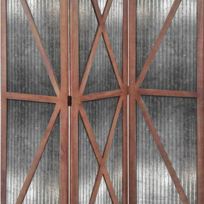 Industrial Corrugated 3 Panel Metal Room Divider Brown and Silver - BM205774 By Casagear Home BM205774