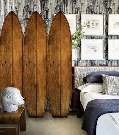 Plank Style Surfboard Shaped 3 Panel Wooden Room Divider, Brown - BM205782 By Casagear Home