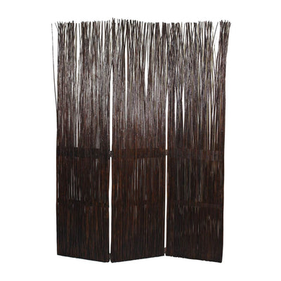 Traditional 3 Panel Wooden Willow Branch Room Divider Brown - BM205785 By Casagear Home BM205785