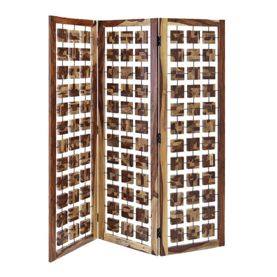 Wooden 3 Panel Room Divider with Interconnected Square Blocks, Brown - BM205787 By Casagear Home