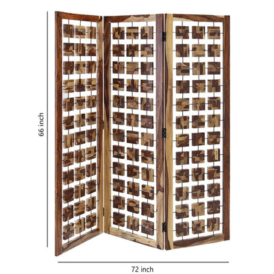 Wooden 3 Panel Room Divider with Interconnected Square Blocks Brown - BM205787 By Casagear Home BM205787