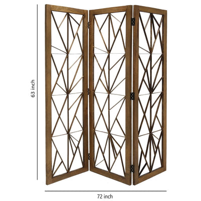 Wooden Handcrafted 3 Panel Room Divider with Intricate Iron Design Brown - BM205789 By Casagear Home BM205789