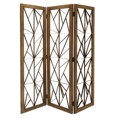 Wooden Handcrafted 3 Panel Room Divider with Intricate Iron Design, Brown - BM205789 By Casagear Home
