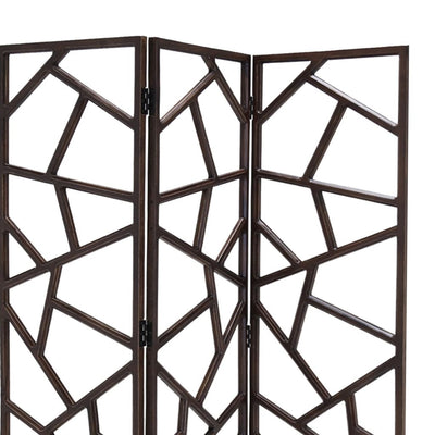 Wooden 3 Panel Room Divider with Intricate Design Espresso Brown - BM205790 By Casagear Home BM205790