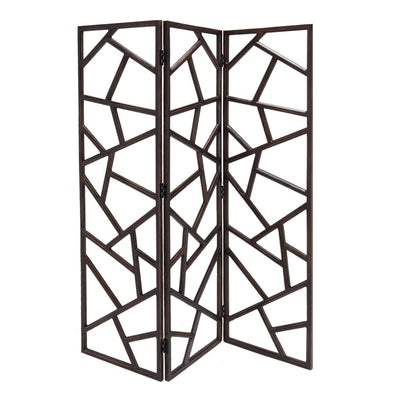 Wooden 3 Panel Room Divider with Intricate Design, Espresso Brown - BM205790 By Casagear Home