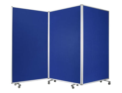 Accordion Style Fabric Upholstered 3 Panel Room Divider, Blue and Gray - BM205792 By Casagear Home