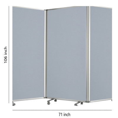 Accordion Style Fabric Upholstered 3 Panel Room Divider Gray - BM205793 By Casagear Home BM205793