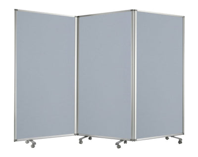Accordion Style Fabric Upholstered 3 Panel Room Divider, Gray - BM205793 By Casagear Home