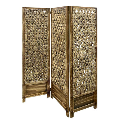 Woven Seagrass 3 Panel Wooden Room Divider, Natural Brown - BM205797 By Casagear Home