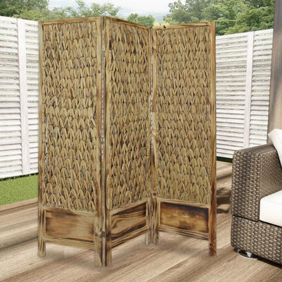 Woven Seagrass 3 Panel Wooden Room Divider Natural Brown - BM205797 By Casagear Home BM205797