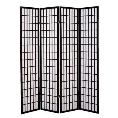 Wooden 4 Panel Room Divider with Shoji Paper Inserts Black and White - BM205799 By Casagear Home BM205799