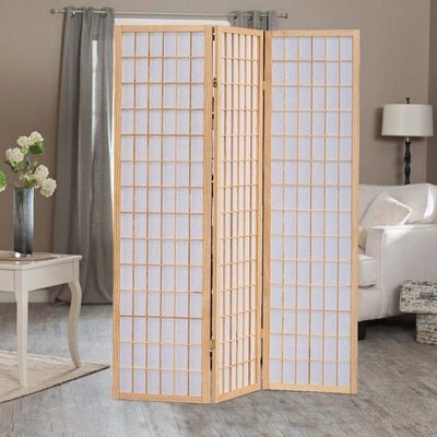 Wooden 3 Panel Room Divider with Shoji Paper Inserts, Brown and White - BM205800 By Casagear Home