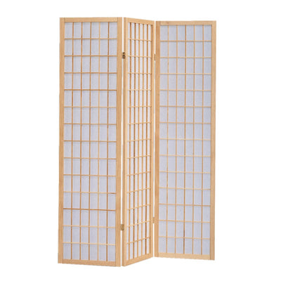 Wooden 3 Panel Room Divider with Shoji Paper Inserts Brown and White - BM205800 By Casagear Home BM205800