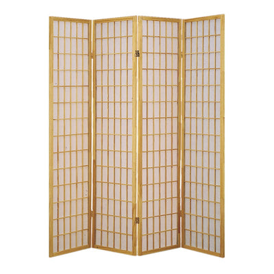 Wooden 4 Panel Room Divider with Shoji Paper Inserts, Brown and White - BM205801 By Casagear Home