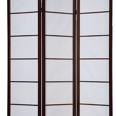 3 Panel Wooden Room Divider with Shoji Paper Inserts,White and Cherry Brown - BM205802 By Casagear Home BM205802