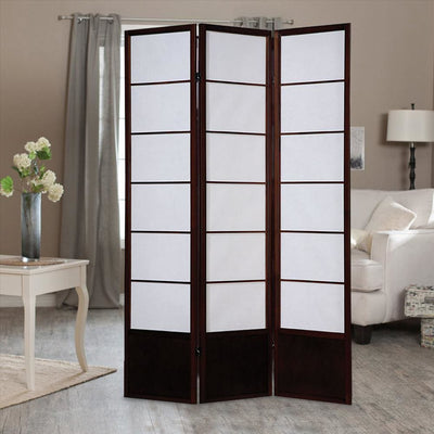 3 Panel Wooden Room Divider with Shoji Paper Inserts,White and Cherry Brown - BM205802 By Casagear Home
