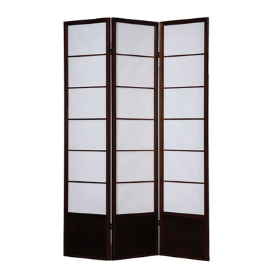 3 Panel Wooden Room Divider with Shoji Paper Inserts White and Cherry Brown - BM205802 By Casagear Home BM205802