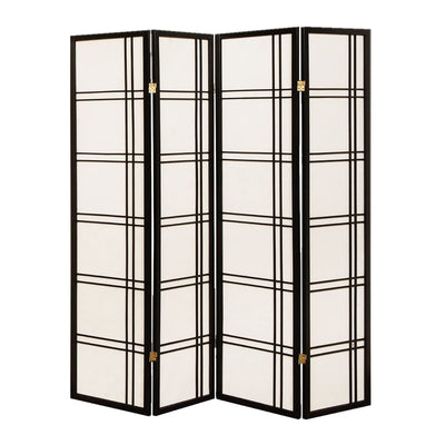 Wooden 4 Panel Room Divider with Checkered Shoji Inserts, White and Black - BM205804 By Casagear Home