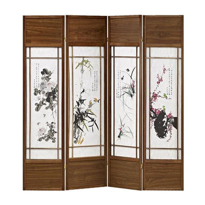 Asian Paintings 4 Panel Room Divider with Shoji Inserts, White and Brown - BM205812 By Casagear Home