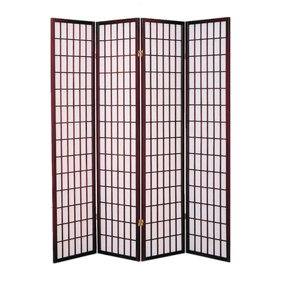 4 Panel Room Divider with Shoji Inserts Cherry Brown and White - BM205815 By Casagear Home BM205815