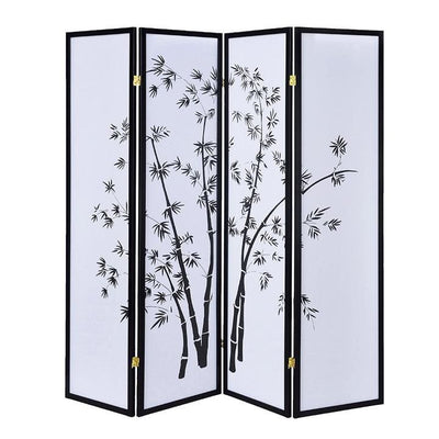 Bamboo Print 4 Panel Wooden Room Divider, Black and White - BM205817 By Casagear Home