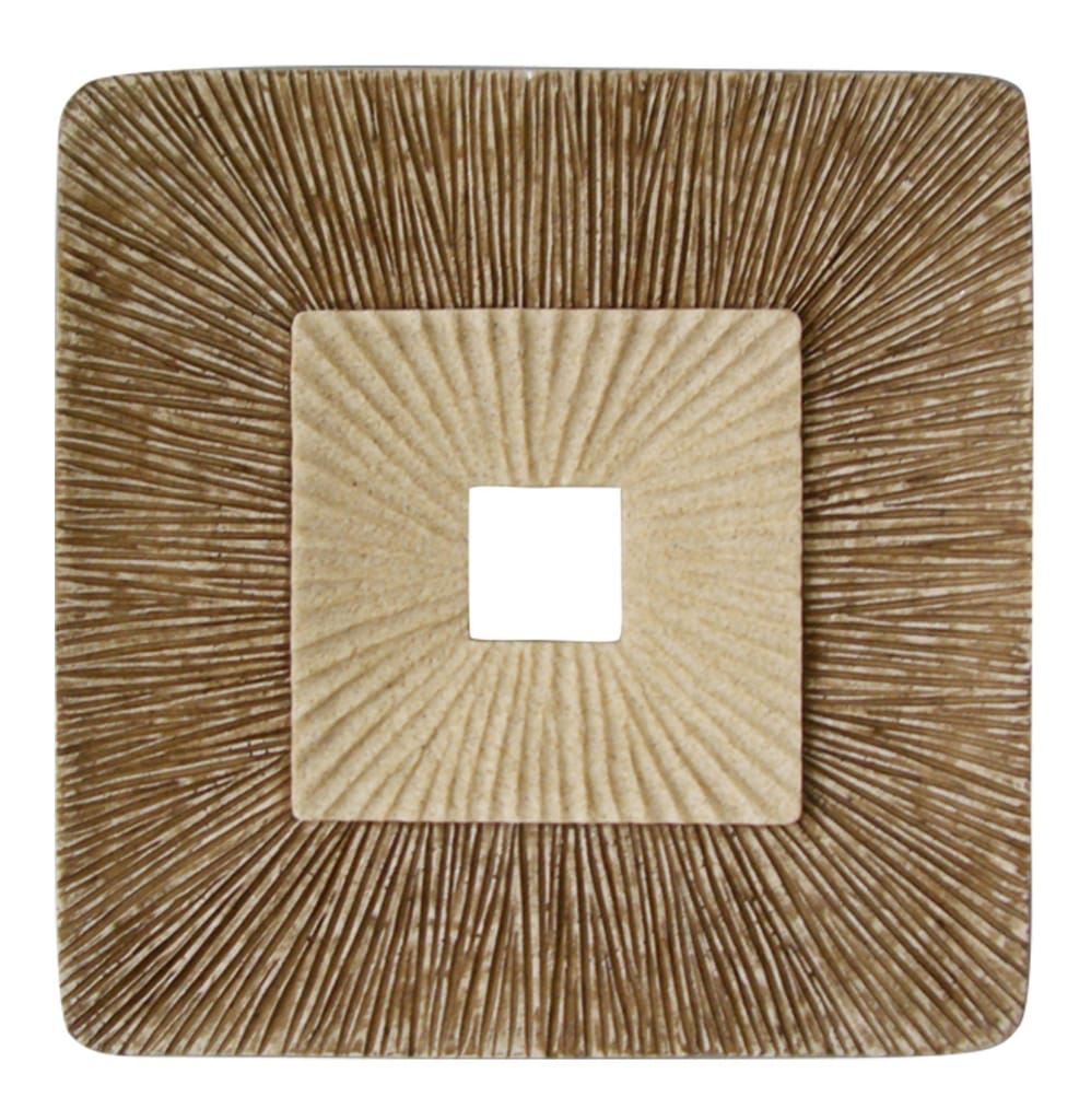 Square Sandstone Wall Decor with Ribbed Details, Medium, Brown and Beige - BM205837 By Casagear Home