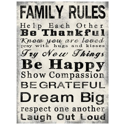 Rectangle Wall Art with Family Quotes Typography Set of 2 Black and White - BM205849 By Casagear Home BM205849