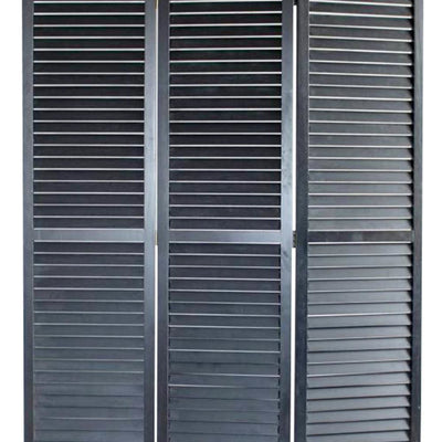 Transitional Wooden Screen with 3 Panels and Shutter Design Black - BM205850 By Casagear Home BM205850