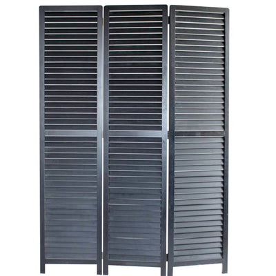 Transitional Wooden Screen with 3 Panels and Shutter Design, Black - BM205850 By Casagear Home