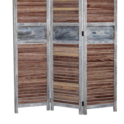 Traditional Wooden Screen with 3 Panels and Shutter Panels Brown & Gray - BM205853 By Casagear Home BM205853