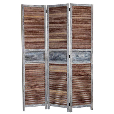 Traditional Wooden Screen with 3 Panels and Shutter Panels, Brown & Gray - BM205853 By Casagear Home