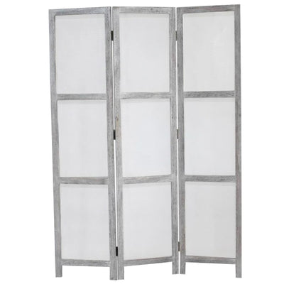 Transitional 3 Panel Screen with Wooden Frame & Fabric Panels, Gray - BM205854 By Casagear Home