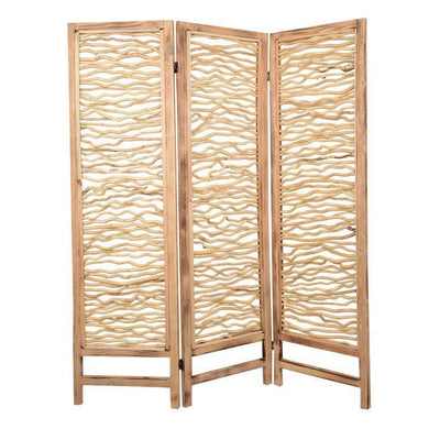 Contemporary 3 Panel Wood Screen with Horizontal Branch Design, Brown - BM205858 By Casagear Home