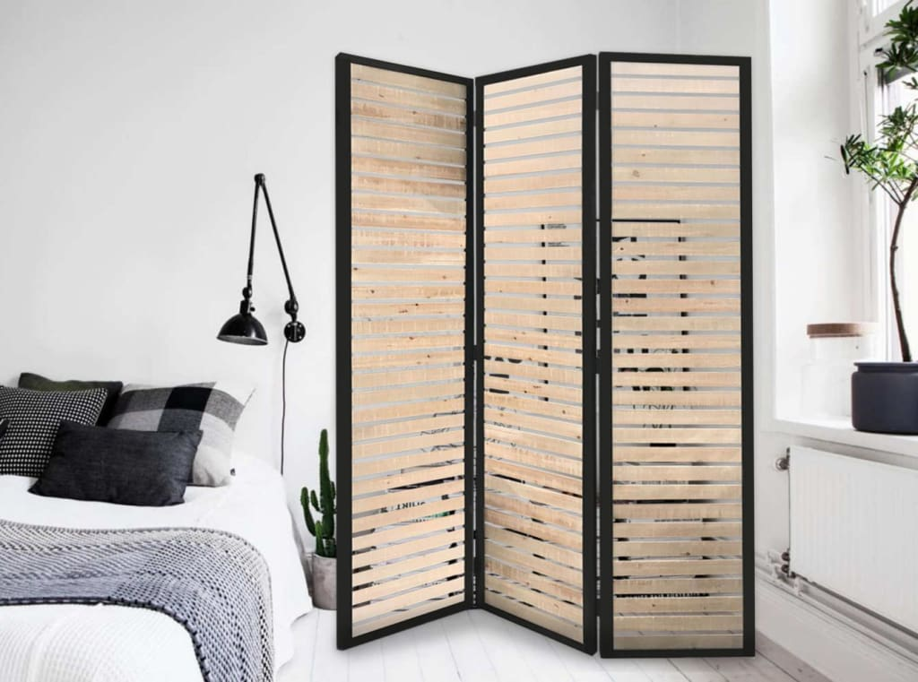 Metal Framed 3 Panel Screen with Wooden Horizontal Inset, Black & White - BM205867 By Casagear Home