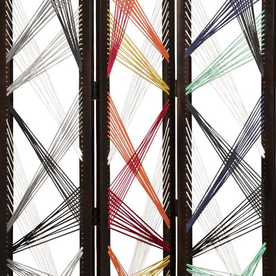 Contemporary 3 Panel Wooden Screen with Woven String Design Multicolor - BM205868 By Casagear Home BM205868
