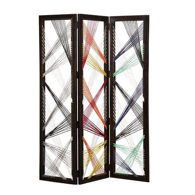 Contemporary 3 Panel Wooden Screen with Woven String Design, Multicolor - BM205868 By Casagear Home