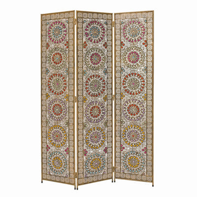 Royal 3 Panel Metal Screen with Decorated Gem Design, Multicolor - BM205875 By Casagear Home