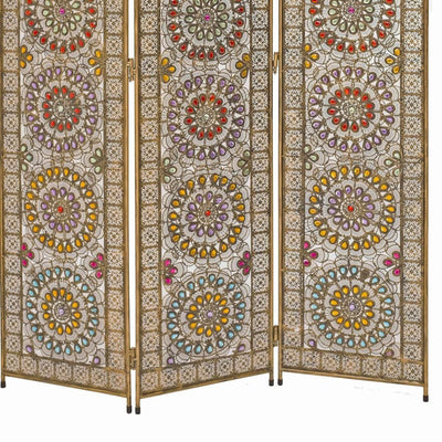Royal 3 Panel Metal Screen with Decorated Gem Design Multicolor - BM205875 By Casagear Home BM205875