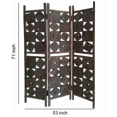 Contemporary 3 Panel Wooden Screen with Square Log Cut Inset Brown - BM205887 By Casagear Home BM205887