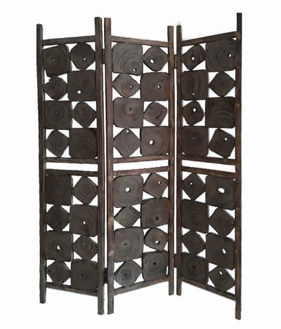 Contemporary 3 Panel Wooden Screen with Square Log Cut Inset, Brown - BM205887 By Casagear Home