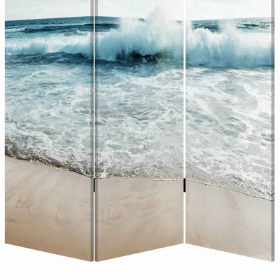 Foldable Canvas Screen with Ocean Shore Print and 3 Panels Multicolor - BM205888 By Casagear Home BM205888