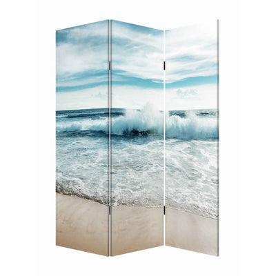 Foldable Canvas Screen with Ocean Shore Print and 3 Panels, Multicolor - BM205888 By Casagear Home