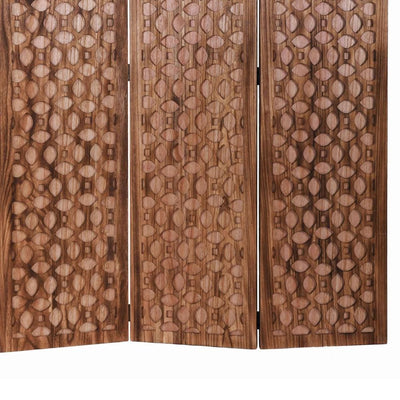 3 Panel Transitional Wooden Screen with Leaf Like Carvings Brown - BM205896 By Casagear Home BM205896