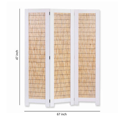Transitional 3 Panel Wooden Screen with Wicker Paneling White and Brown - BM205897 By Casagear Home BM205897