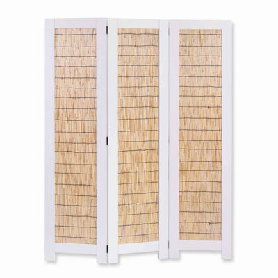 Transitional 3 Panel Wooden Screen with Wicker Paneling, White and Brown - BM205897 By Casagear Home