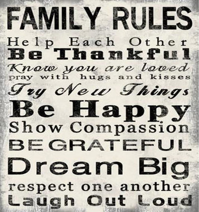 High Quality Canvas Print with Family Rules Quotes, Black & White - BM205899 By Casagear Home