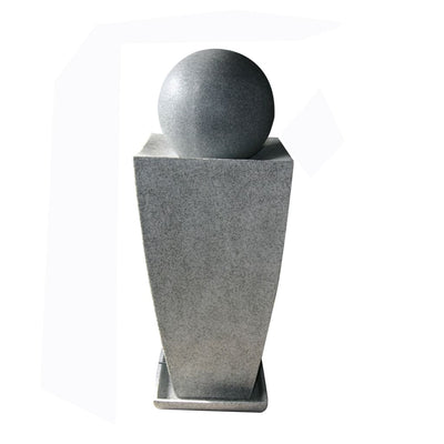Tall Ball Top Fountain with Tall Square Vase Base Planter Gray - BM205912 By Casagear Home BM205912