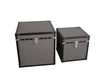 Fabric Upholstered Square Trunk with Nailhead Details Gray Set of 2 - BM205932 By Casagear Home BM205932